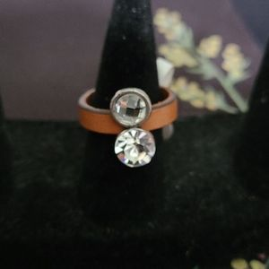 CZ and faux leather ring